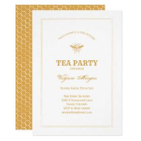 Golden Bee and Honeycomb Tea Party Invitation