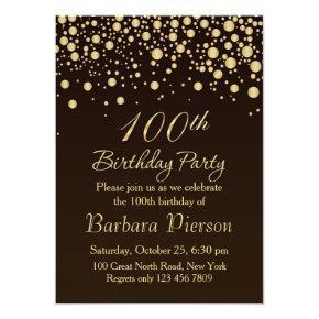 Golden confetti 100th Birthday Party Invitations