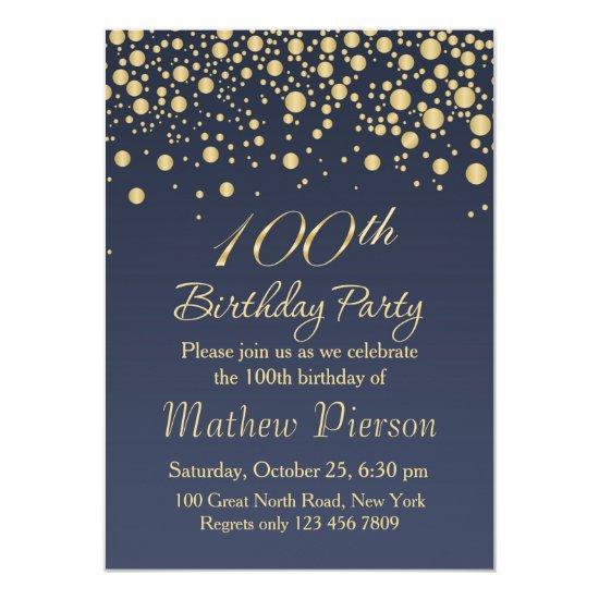 Golden confetti 100th birthday party invitation candied clouds golden confetti 100th birthday party invitation filmwisefo Choice Image