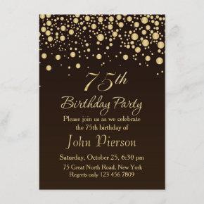 Golden confetti 75th Birthday Party Invitation