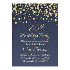 Golden confetti 75th Birthday Party Invitations
