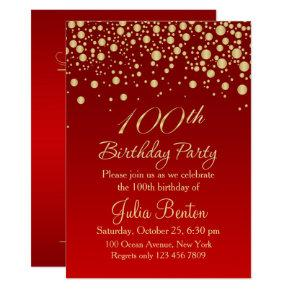 Golden confetti on red 100th Birthday Invitations