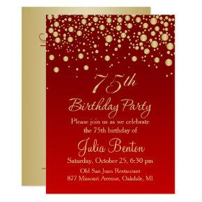 Golden confetti on red 75th Birthday Invitations