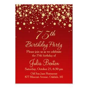 Golden confetti on red 75th Birthday Invitations