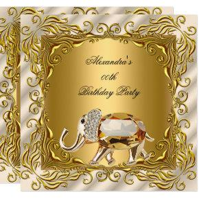 Golden Elephant Elite Cream Gold Birthday Party Invitations