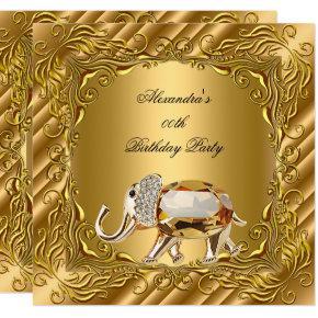 Golden Elephant Elite Elegant Gold Birthday Party Invitations