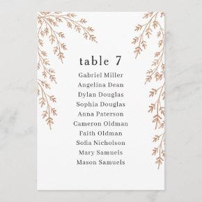 Golden foliage Table Number with Seating