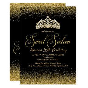 Golden Glitter, Sweet 16 Invitations
