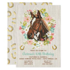 Golden horseshoe Wreath Horse Birthday Party Invitation