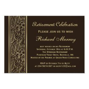 Golden leaves on brown Retirement Party Invitations