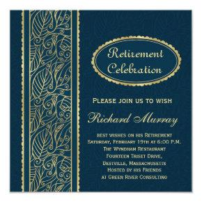 Golden leaves on dark blue Retirement Party Card
