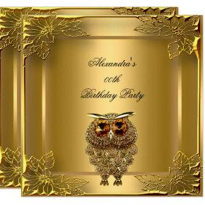 Golden Owl Elite Elegant Gold Birthday Party Invitations