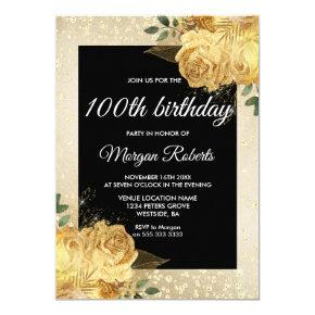Golden Rose Glitter Floral 100th Birthday Party Invitations