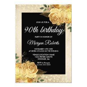Golden Rose Glitter Floral 90th Birthday Party Invitations