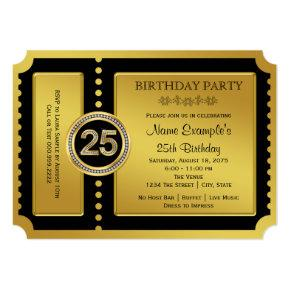 Golden Ticket 25th Birthday Party Card