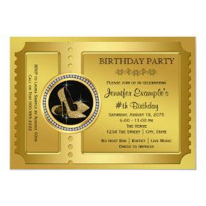Golden Ticket Birthday Party Invitation