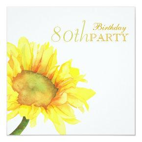 Golden Watercolor Sunflowers 80th Birthday Party Invitation
