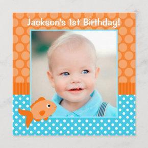 Goldfish Polka Dot 1st Birthday Photo Invitation