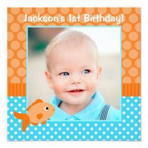 Goldfish Polka Dot 1st Birthday Photo Invitations