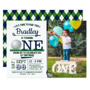 Golf PAR-TEE 1st Birthday Photo Invitation