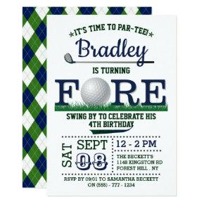 Golf PAR-TEE 4th Birthday Invitation