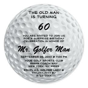 Golf Surprise Old Man Funny Birthday Party Invitation