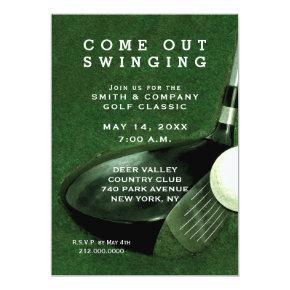 golfer golf golfing ball and flag 30th birthday invitations