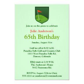 Golfer Golf Golfing 65th Birthday Invitations