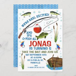 Gone fishing Or Fishing themed Birthday Invitation