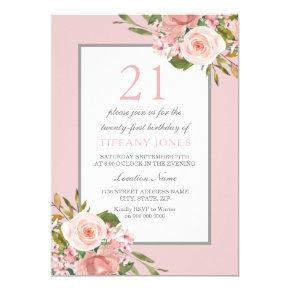 Gorgeous Flowers Girls 21st Birthday Party Invite