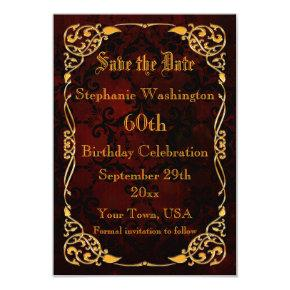 Gothic Gold Framed 60th Birthday Save The Date Card