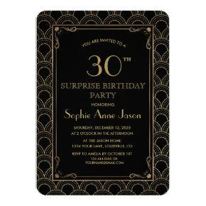 Great Gatsby Vintage Art Deco Birthday Party Invitations