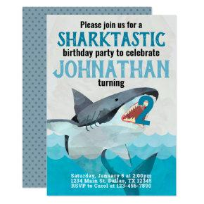 Great White Shark Birthday Party Invitation