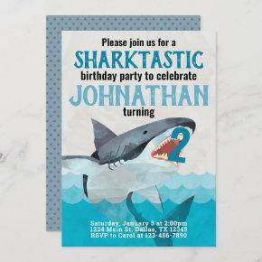 Great White Shark Birthday Party Invitation