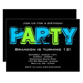 Green and Blue Grunge Birthday Party Invitation