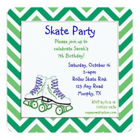 Green and Blue Roller Skate Birthday Invitation