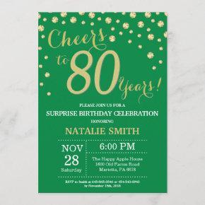 Green and Gold Surprise 80th Birthday Diamond Invitation