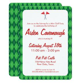 Kids golf birthday invitations candied clouds green argyle mini golf kids birthday invitations filmwisefo