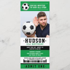 Green Black Soccer Ticket Birthday Party Photo Invitation
