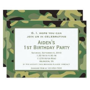 Green Camo | Birthday Party Invitation