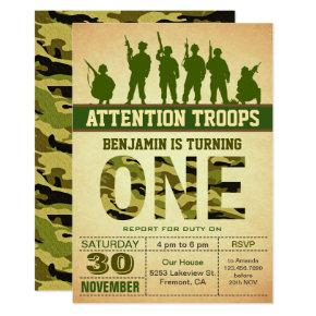 Green Camo Camouflage First Birthday Invitation