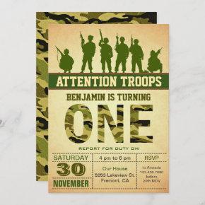 Green Camo Camouflage First Birthday Invitation