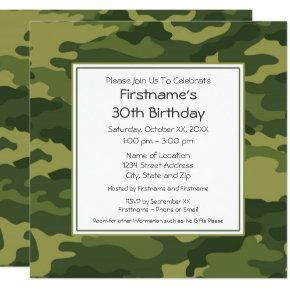 Green Camouflage Birthday Party Invitation