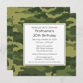 Green Camouflage Birthday Party Invitation