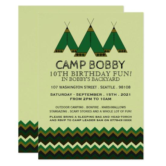 Green Chevron Tipi Camping Birthday Invitations Candied Clouds