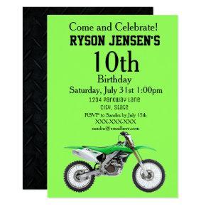 Dirt bike birthday invitations candied clouds green dirt bike sports boy birthday invitations filmwisefo