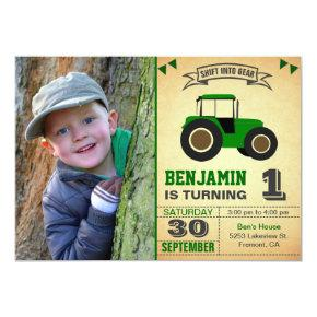 Green Farm Tractor Kids Photo Birthday Party Invitation