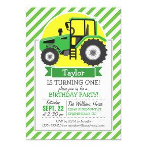 Green Farm Tractor with Yellow; Green & White Invitation