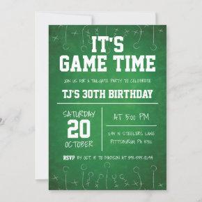 Green Football Birthday Invitation Sports Birthday