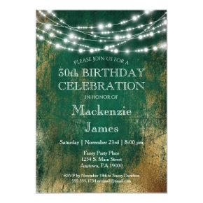 Green Gold Lights Birthday Party Invitation Adult